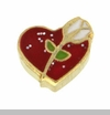 Red Heart with White Rose Floating Locket Charm