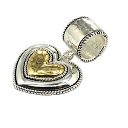Gianni Lily Scarf Charm & Pendant Two Tone Heart