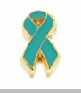 Teal Ribbon Floating Locket Charm