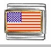 United-States Flag Photo Italian Charm Bracelet Link