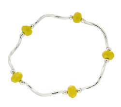 Prism Pals Yellow Opaque Color Crystal Stretch Bracelet