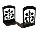 Leaf Fan Black Wrought Iron Bookends