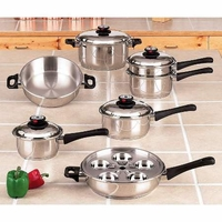 Maxam 5-Ply 17pc Steam Control Waterless Cookware Set