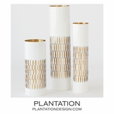 Bracelet Etched Vases | White & Brass