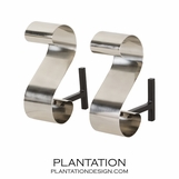 Clef Andirons Set | Nickel