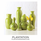 Colorful Porcelain Vases Set | Green