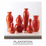 Colorful Porcelain Vases Set | Red-Orange