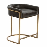 Klein Brown Leather Barstool | Counter Height