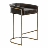 Klein Brown Leather Barstool | Short Back