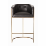 Klein Brown Leather Barstool | Tall Back