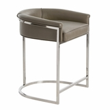 Klein Grey Leather Barstool | Counter Height