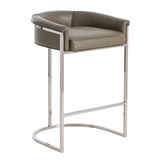 Klein Grey Leather Barstool | Short Back