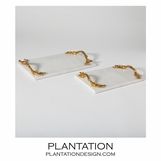 Manolo Trays | White Marble & Brass