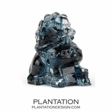 Pinyin Glass Lion | Dark Blue