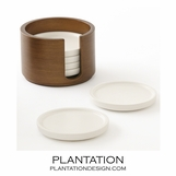 Shervin Coaster Set & Caddy | Ivory