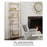Woodland Bookshelf | Brass & White Marble