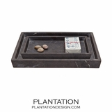 Zurich Stone Trays Set | Black Marble