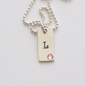 1 Rectangle Initial Tag  Necklace with Swarovski Crystal