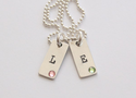 2 Rectangle Initial Tag Necklace with Swarovski Crystals