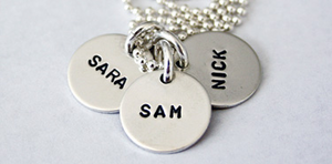 3 Tag Hand Stamped Mommy Necklace