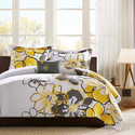 Allison Yellow and Gray Floral Comforter Set