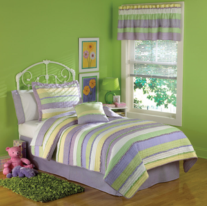 Annas Ruffle Purple Twin Quilt with Pillow Sham