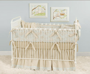 Baby Toile in Blue Crib Bedding Collection
