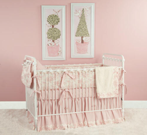 Baby Toile in Pink  Crib Bedding Collection