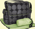 Charcoal Grey and Lime Dot Messenger Diaper Bag by OiOi