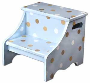 Blue and Chocolate Polka Dot Kids Step Stool