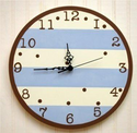 Blue and Chocolate Striped Children's Bedroom Clock