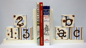 Blue and Chocolate Wooden Bookends