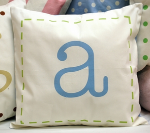 Blue and Green Monogrammed Pillow by New Arrivals Inc