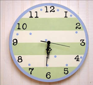 Blue and Green Striped Kids Bedroom Clock