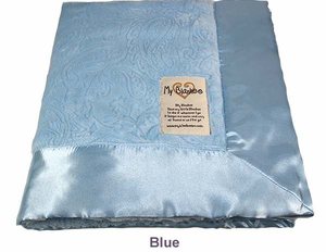 Blue Embossed Paisley Security Blanket