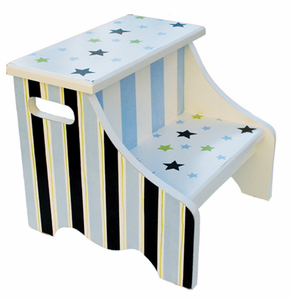 Blue & Green Stars And Stripes Kids Step Stool