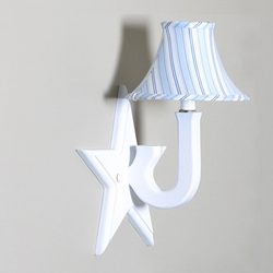 Blue Stripe on a White Star Sconce by Little House Inc