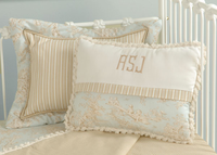 Blue Toile Monogrammed Pillow