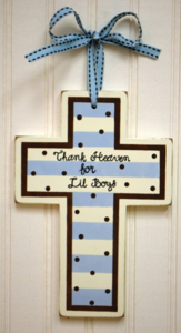 Boy's Blue and Chocolate Wooden Cross