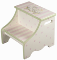 Bunny Love Pink and Green Kids Step Stool