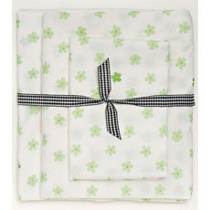 Butterfly Party Green Blossom Dot Print 3 Piece Twin Sheet Set