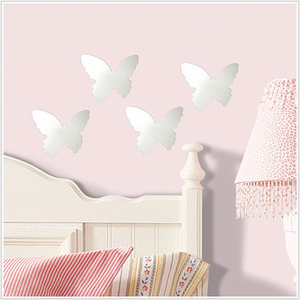 Butterfly Peel and Stick Mirrors, 4 Pack