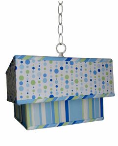 Caden Lane Blue Mixed Line and Dot Double Square Pendant