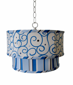 Caden Lane Dark Blue Swirl and Stripe  Double Pendant