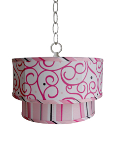 Caden Lane Dark Pink Swirl and Stripe Double Pendant