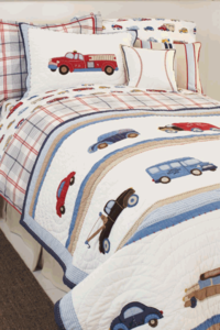 Cars and Trucks Embroidered Twin Quilt
