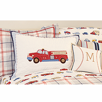 Cars and Trucks Embroidery Quilted Standard Sham