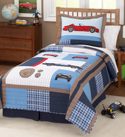 Cars Boys Twin Quilt with Pillow Sham