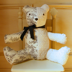 Central Park Black Toile Stuffed Plush Bear