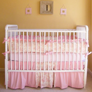 Central Park Pink Toile Crib Bedding Set